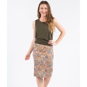 Agnes & Dora Pencil Skirt Floral Blush & Gold